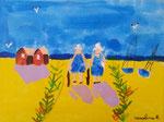 Les bretonnes de Caroline, 8 ans (acrylique sur toile)