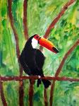 Toucan de Lucie, 8 ans (acrylique sur toile)