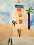 Marrakech, Rose 7 ans et demi (aquarelle)