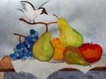 Nature morte, aquarelle de Clémence, 9 ans