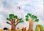 """""""Les animaux de la forêt"""", Hugo, 8  ans (aquarelle)"""