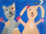 La famille chiens de Mélodie, 4 ans et demi (acrylique sur toile)