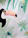 Toucan de Lucie, 9 ans, aquarelle