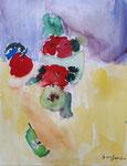 Les pommes, aquarelle de Benjamin,, 6 ans et demi