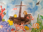 Fonds sous marin de Jeanne, 11 ans et demi, aquarelle
