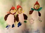 """""""une chouette année"""", carte de voeux de Nawfel, 4 ans et demi (aquarelle sur papier)"""