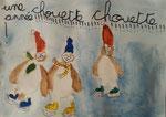 """""""Une chouette année"""", carte de voeux de Salma, 6 ans et demi (aquarelle sur papier)"""