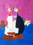 """""""La famille chat"""", Eloïse 11 ans (acrylique sur toile)"""