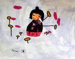 Kokeshi, aquarelle de Manon, 6 ansi