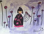 Kokeshi, aquarelle de Pauline, 5 ans et demi