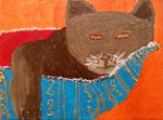 """""""Le chat dormeur"""", Alexandre 7 ans et demi (acrylique sur toile)"""
