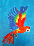 Perroquet de Jean-Baptiste 9,5 ans  (acrylique sur toile)