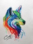 Dessin aux crayons aquarellables de Claria, 15 ans