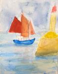 Paysage breton, Nassim, 9 ans (aquarelle sur papier)
