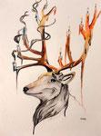 Dessin aux crayons et feutres aquarellables de Mathilde, 17,5 ans