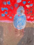 """""""Le chat bleu"""", Mélodie, 4 ans et demi (pastel)"""