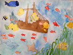 Fonds sous marin d'Eloïse, 11 ans et demi, aquarelle