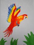 Perroquet de Mathilde, 8,5 ans  (acrylique sur toile)
