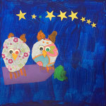 Mélodie, 4 ans et demi (acrylique et collages sur toile)