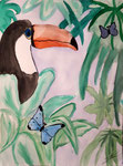 Toucan de Méline, 10 ans, aquarelle