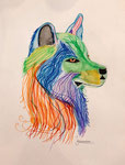 Dessin aux crayons et feutres aquarellables de Jeanne, 10,5 ans