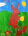 Le lapin de Pâques de Mélodie, 4 ans et demi (gouache sur papier)