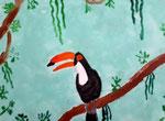 Toucan de Pauline, 9 ans  (acrylique sur toile)