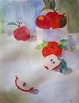 Pommes de Ella, 8,5 ans (aquarelle)