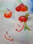 Pommes de Axelle, 10 ans (aquarelle)