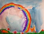 Licorne de Pauline, 5 ans et demi (aquarelle)