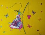 """""""Voler avec des papillons"""", Pauline 9 ans (acrylique sur toile)"""