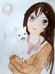 Manga, aquarelle de Flora, 10 ans