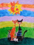 La famille chat de Nicolas, 8 ans (acrylique sur toile d'après Rosina Wachtmeister)