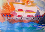"""""""Bateau à voile au coucher de soleil"""", Clément, 6 ans (aquarelle sur papier)"""