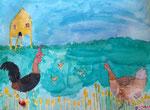 Les poules,aquarelle de Junerose, 6 ans