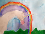Licorne de Nawfel, 6 ans (aquarelle)