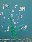 """""""L'arbre à musique"""", Clémence P., 9 ans (acrylique sur toile)"""