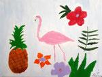 Flamand rose de Léanne, 9 ans  (acrylique sur toile)