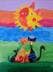 La famille chat  de Nassim, 9 ans (acylique sur toile d'après Rosina Wachtmeister)
