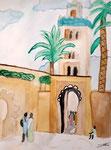 La Koutoubia, (Marrakech), aquarelle de Méline, 10 ans