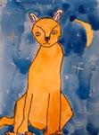 chat de Aaron, 8 ans (acrylique)