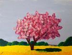 Arbre en fleurs de Laure, 12 ans et demi (acrylique sur toile)