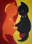 Chats de Jeanne, 13 ans (acrylique sur toile)