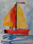 Le voilier de Nawfel, 4 ans (aquarelle)