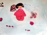Kokeshi, aquarelle de de Manon, 6 ans