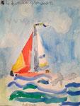 Le voilier de Salma, 6 ans (aquarelle)