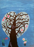"""""""L'arbre des amoureux"""", Hannah F., 10 ans (acrylique sur toile)"""