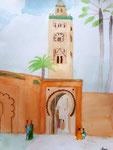 """""""La Koutoubia"""" (Marrakech), aquarelle de Maëlys, 11 ans"""