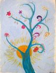 """""""L'arbre des rêves"""", Caroline M. , 13 ans (acrylique sur toile)"""