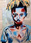 Portrait à la manière de Stéphanie Ledoux, Emma S. 16 ans et demi (acrylique)